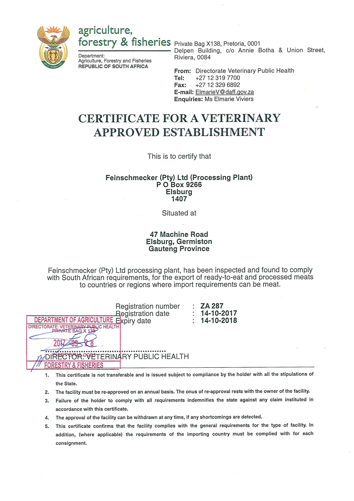 Feinschmecker is a veterinary approved meat establishment